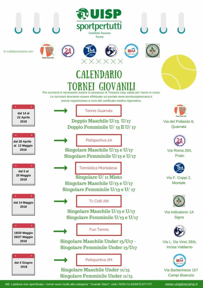 Fit Calendario Tornei.Calendario Tornei Giovanili Tennis Uisp Toscana